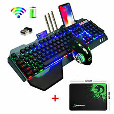 Wireless Keyboard and Mouse Rainbow LED Backlit Rechargeable for PS4 PC Gamers