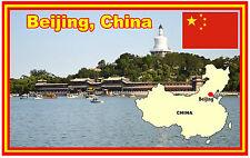BEIJING, CHINA, MAP & FLAGGE - SOUVENIR NEUHEIT KÜHLSCHRANK-MAGNET