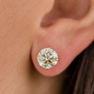 New 4.00 TCW FOREVER ROUND DEF MOISSANITE 4 PRONG STUD EARRINGS 14K YELLOW GOLD