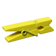 50 Small Painted Wood Clothespin Clip Findings, YELLOW fin0243