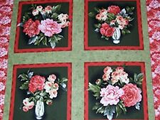 Floral viñeta Rosas Cojín Paneles Algodón Colchas de retazos de tela - 4 Paneles