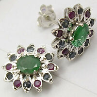925 Silver EMERALD, RUBY & SAPPHIRE JEWEL Stud Earrings
