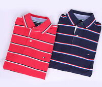 NEW TOMMY HILFIGER MEN'S GOLF MESH PIQUE STRIPE POLO SHIRT - FREE SHIPPING