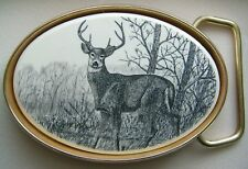 Belt Buckle Barlow Scrimshaw Carved Painted Art Traditional Deer Standing 590605