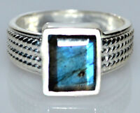 Emerald cut Labradorite Sterling Silver Ring Natural Gem 925 Size 5½ L upto 9½ T