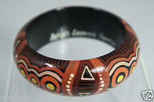 HAND CRAFTED PAINTED WOOD BANGLE BRACELET MULTI COLORED ARTIST SIGNED