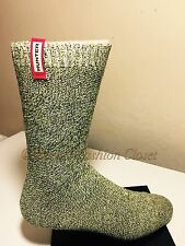 S/M 5-7 HUNTER Women Mid-Calf Mouline Side Logo Tab Boot Socks Yellow/Black/Whte