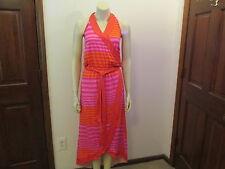 Mud Pie Pink/Flamingo Striped Wrap Dress, Size Medium, NWT