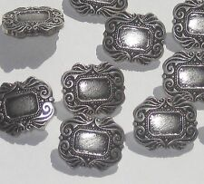 Fancy Antiqued Silver tone set 12 vintage new Rectangular ornate buttons 3/4""