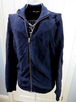 ARMEDANGELS Navy Zip Up Organic Cotton Cardigan Jacket Medium Ethical Knit Blue
