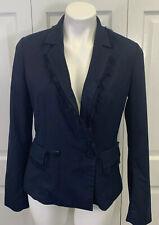 Banana Republic Navy Blue Blazer Jacket Sz 6 S Small Fringe Trim Lined EUC
