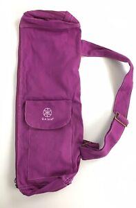 Gaiam Yoga Mat Shoulder Bag 24 x 9 Purple Zipper Cotton Canvas w/Logo Pockets