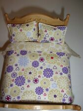 2 in 1 Dolls House Bedding Set -1/12 Handmade- Double Bed  reversable,d