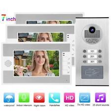 """Kit Videocitofono Trifamiliare Telecamera 3 Monitor 7"""" LCD Foto Video Apriporta."""