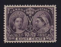 Canada Sc #56 (1897) 8c dark violet Diamond Jubilee Mint VF H