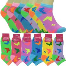 12 Pairs Women Girls Fashion Cotton School Casual Low Cut Socks Size 9-11 BFLY