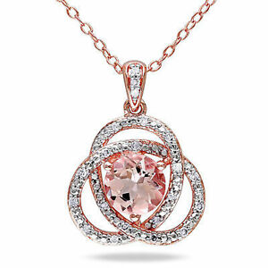 """Amour Pink Silver Morganite and 1/10 ct TDW Diamond Pendant Necklace 18"""""""