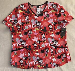 Disney Mickey & Minnie Mouse V Neck Scrub Top Women's Size XL NWT