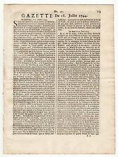 1744, July 24, Original French Gazette # 29, Period of the 3rd intercolonial war