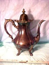 Ornate vintage coffee pot Wallace 1200 Rose Point  footed hinge top