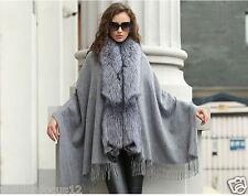 Winter Warm Lady100%Wool 100%Silver Fox Fur Shawl/Poncho/Coat/cape//Wraps/Gray
