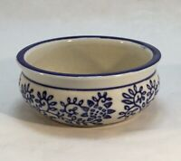 Stoneware Daub Blue and White Succulent Planter/Bowl, Floral Pattern