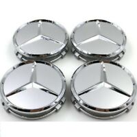 4pc Car Wheel Emblem Hub Center Caps Laurel Wreath Silver 75mm For Mercedes-Benz