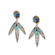 NEW Urban Anthropolo​​gie Grand Tri Hempi Teal Blue Gemmed Earrings