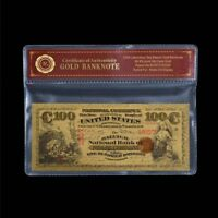WR 1875 US America $100 Dollar Bill Polymer GOLD Foil Banknote Collection /w COA