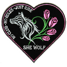 4611 She Wolf Heart Shaped Embroidered Patch - Vest, Jackets, Clothes, Hats, Bag