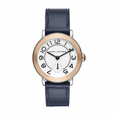 NEW Marc Jacobs MJ1602 Riley Silver Dial Blue Leather Strap Women's Watch