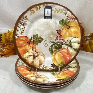 Rachel Ashwell Harvest Fall Pumpkins Thanksgiving Melamine Dinner Plates Set 4
