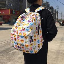 Varies Emoji Backpack White Emoticon Pack School Shoulder Bag Boys Girls Satchel