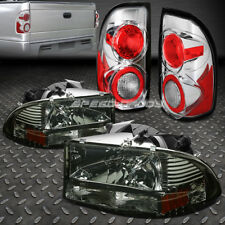SMOKED 1PC HEADLIGHT+BUMPER+CLEAR ALTEZZA REAR TAIL LIGHT FOR 97-04 DODGE DAKOTA