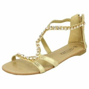 Ladies Spot On Flat Zip Up Sandals