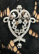 14k White Gold Antique Diamond Edwardian Style Pendant & Brooch 1 5/8 CTW