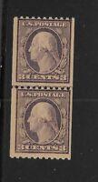 US Scott #489 mint coil joint line pair 3c violet Washington nh og f/vf 1916