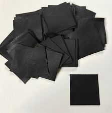 Black full-grain cowhide REAL Italian leather, 50 4x4inch squares in a pack