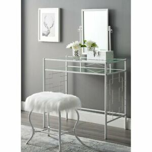 Hot new Square Geo Metal Vanity with Mirror and Faux Fur Stool, White