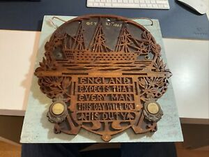 GREAT 1805 WOODEN CARVING OF HMS VICTORY. BOAT AND EARLY PHOTOS. ENGLAND EXPECTS