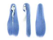 100cm Long Straight Cosplay Fashion Wigs Light Blue Color