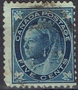 Canada.  QV.  1897-8.  5 cents blue.  Used.  Scott 70.  Cat $10.00.
