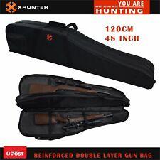 "Xhunter 48"" Double Layers Gun Rifle Bag Reinforced Black Case For2 Rifle Shotgun"