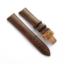 20mm Brown Leather Watch Band Strap With Rose Gold Butterfly Clasp