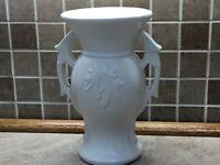"""Vintage McCoy Pottery Matte White Handled Leaf Vase EXC 9"""""""