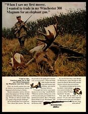 1965 Winchester 300 Magnum Elephant Gun Moose Hunting Rifle Vintage Print Ad