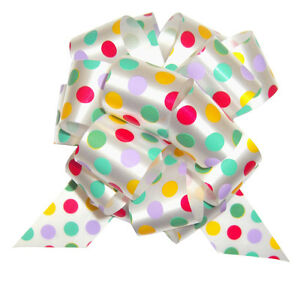 SPOTTY PULL BOWS - EASTER Baby Shower Birthday Gift Basket Hamper Party Bow