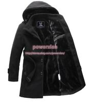 winter Mens trench coat warm lined hooded wool Casual Jacket outwear parka 6XL