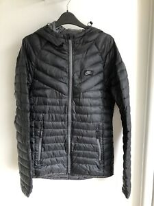 Nike Black Hooded Down Padded Jacket - Small