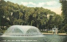 Boston Common~Umbrella Fountain in Frog Pond~Fancy Gated Hut 1910 Postcard